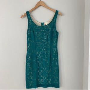 Everly Green Lace Overlay Dress